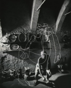 In 1949, Albanian-American photographer Gjon Mili was able to make an appointment with Pablo Picasso at his studio in Vallauris France. Trained as an engineer and self-taught in photography, Gjon Mili was the first to use electronic flash and stroboscopic light to create photographs that had more than scientific interest.