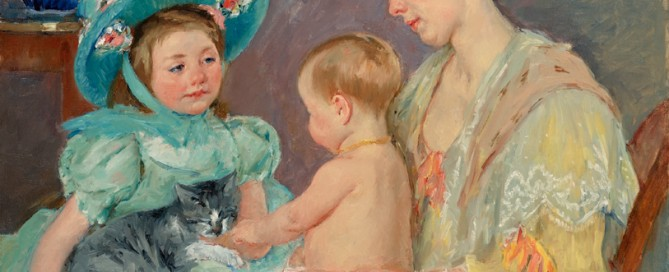 Children Playing with a Cat Created: 1908 Oil on canvas 32 x 39 ½ inches Signed: Mary Cassatt (l.r.)