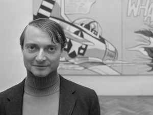 Roy Lichtenstein in front of one of his paintings at an exhibition in Stedelijk Museum. 3 November, 1967