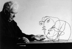 Artist Alexander Calder with his works 'Edgar Varese' & 'Untitled,' Sache, France, 1963 Photograph by Ugo Mulas