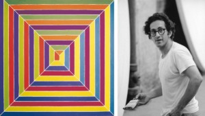 "Left: ""The Gallant Indies (Les Indes galantes)"", 1966, private collection Bridgeman Art Library © Frank Stella. ARS, NY and DACS, London 2015 Right: Mr Stella in his studio, New York, 1968 © Malcolm Lubliner"