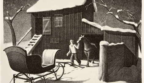 December Afternoon, 1940 Lithograph 8 7/8 x 11 3/4 inches Edition of 250 Signed lower right: Grant Wood