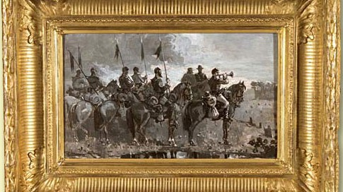 Rush's Lancers (1886) Oil on Board - Signed: W.H. (l.l.) Image size: 9 x 15 inches
