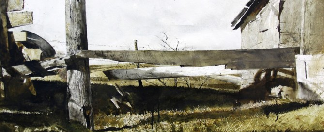 Outbuilding Watercolor on paper 20 ½  x 29 ½ inches Signed:  A. Wyeth (l.r.)