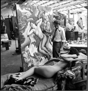 Thomas Hart Benton Painting The Rape of Persephone, 1938