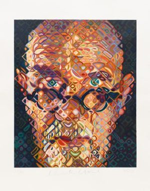 Chuck Close self portrait woodcut
