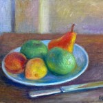 Fruit on Plate with Knife Oil on Canvas 13 1/2 x 17 ½ inches Signed: WG