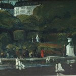 """Sailboats, Luxembourg Gardens"""" c. 1895 Oil on canvas 25 ¾ x 32 inches"""