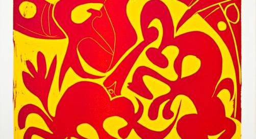 """Pique (Rouge et Jaune)"",1959 Medium: Linoleum cut printed in red and yellow Image size : 20 7/8 x 25 inches Signed in pencil Reference: Bloch #908"