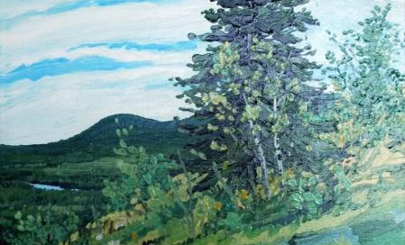 Untitled Landscape Oil on canvas 20 x 20 inches Signed: Welliver (l.r.)