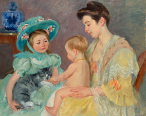 "Artist: Mary Cassatt (1845-1926) Title: ""Children Playing with a Cat"" Created: 1908 Medium: Oil on canvas Size: 32 x 39 ½ inches"