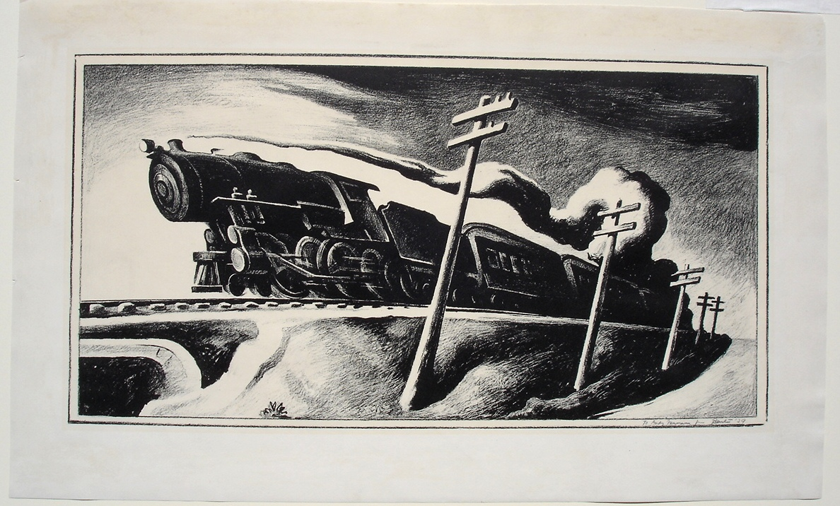 """Artist: Thomas Hart Benton (1889-1975) Title: """"Going West"""", 1934 Medium: Lithograph on paper Size: 11 ½ x 22 ½ inches"""