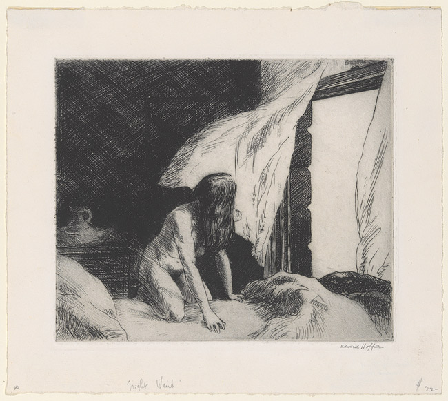 """Artist: Edward Hopper (1882-1967) Title: Evening Wind, 1921 Medium: Etching on woven paper Dimensions: to plate mark 6 7/8"""" x 8 1/4 """""""