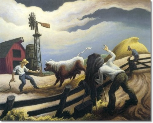 "Thomas Hart Benton (1889-1975) ""Photographing the Bull"", 1947 Egg tempera with oil on canvas mounted on board 27 x 36 inches Signed and inscribed on verso: 'Painted July 47' gesso ground tempera under painted glazed with oil color… Final highlights with tempera .. Benton"""
