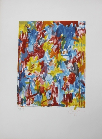 JASPER JOHNS False Start 1962 Lithograph printed in colors Sheet: 30 x 22 inches Signed in red pencil: Jasper Johns (l.r.)
