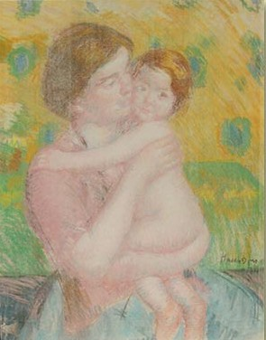 Mary Cassatt Mother With Her Nude Child Looking (to Right) circa 1914
