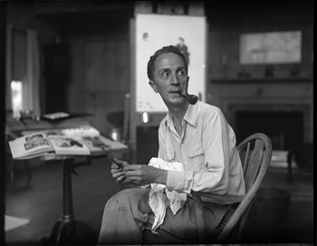 Norman Rockwell in his studio in Arlington, Vermont, sometime before it burned down in 1943. c1942 Alton H. Blackington, photographer