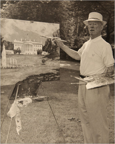 Guy Wiggins painting on the White House lawn. c 1950