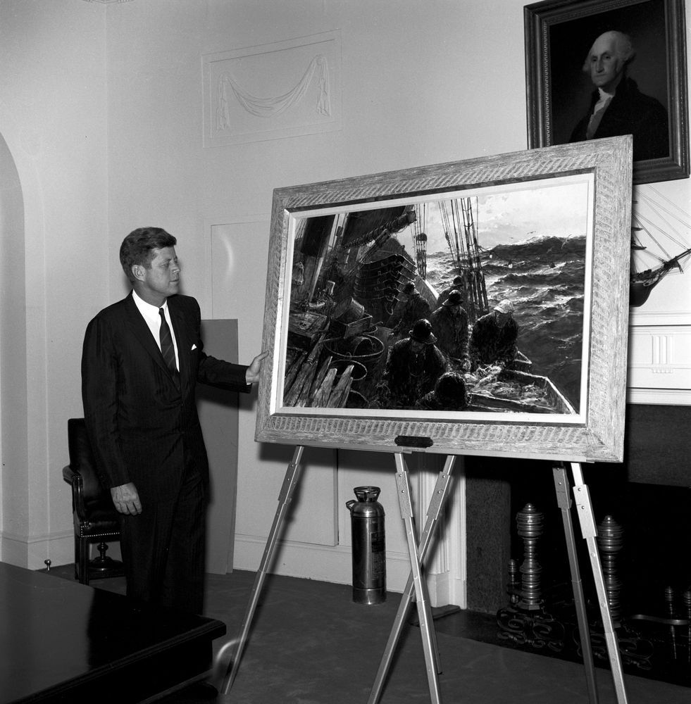 President John F. Kennedy with Dressing Down the Gully by Jack Lorimer Gray